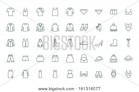 Clothes set of line style icons modern line style