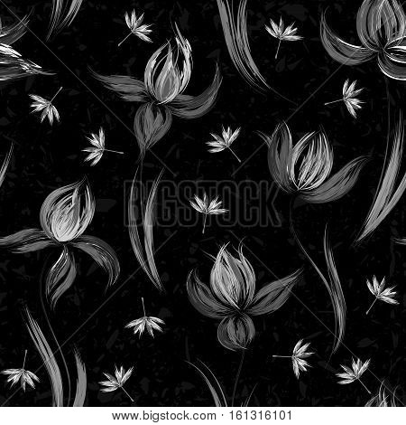 Floral seamless pattern of irises. Irises painted imitation of oil paint. Creative execution of floral ornament. Black and white flowers on a dark gray background.