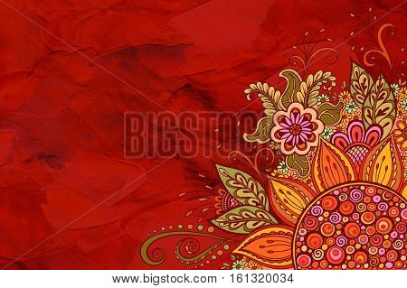 Floral Pattern, Symbolic Flowers and Leafs, Colorful Ornament on Red Hand-Draw Oil Paint Painting Background