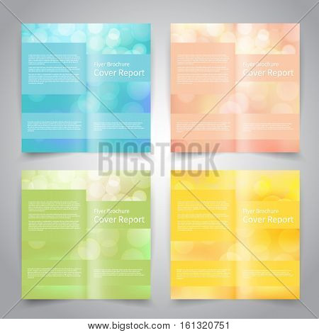 Brochure design templates set with abstract geometric background. Blue, pink, green, yellow colors. Vector brochure mockup EPS10
