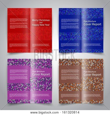 Brochure design templates set with knitted ornament background. Red, blue, gold, purple colors. Vector Christmas brochure mockup EPS10