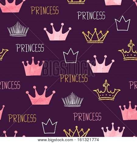 Little princess seamless pattern with crowns. Vector purple baby background.
