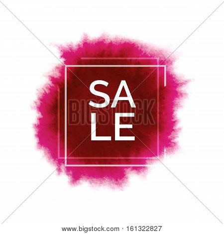 Abstract watercolor red spot, hand painted watercolour pink stain, bright vector splash with world sale, watercolor background for design