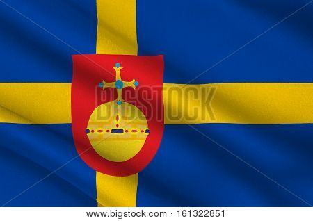 Flag of Uppsala County is a county or län on the eastern coast of Sweden. 3d illustration