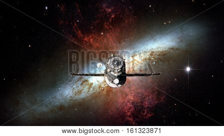 Spacecraft Progress Orbiting The Nebula.