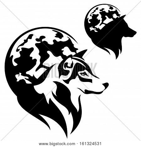 wolf profile against full moon disk outline and silhouette - black and white vector design