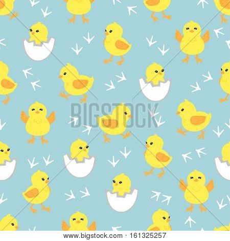 Baby background with cute little chickens. Seamless pattern with yellow chicks in different poses. Vector illustration.