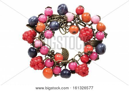 Bracelet with colorful beads isolated over white