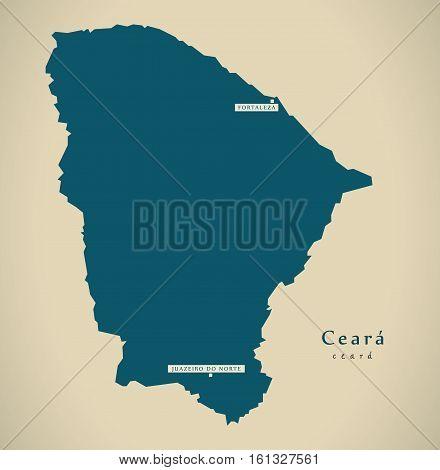 Modern Map - Ceara Br Brazil Illustration