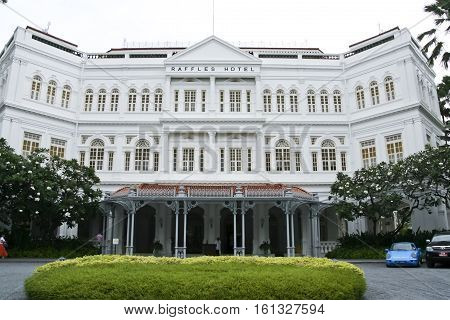 Singapore - May 10 2008: The Raffles Hotel in Singapore. Opened in 1899 it was named after Singapore's founder Sir Stamford Raffles.