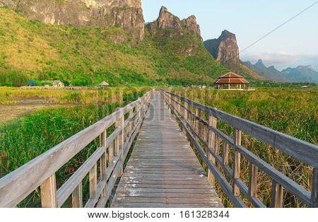 Wooden bridge at Sam Roi Yot National ParkThailand