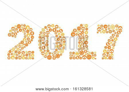 New Year 2017 with Technology Icons - Greeting Card - illustration - Vector EPS