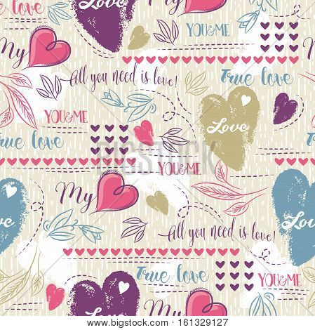 Color background with red and blue valentine heart and wishes text vector illustration. Ideal for printing onto fabric and paper or scrap booking