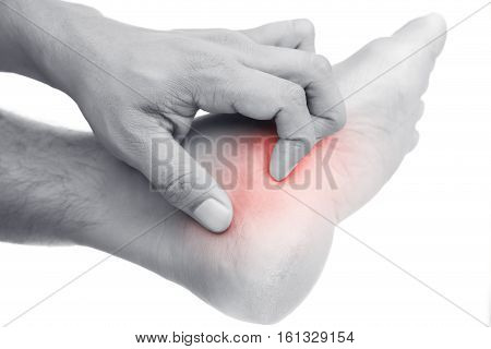 Have a Itching foot isolated on white background.