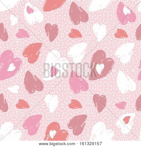 Pink background with valentine heart vector illustration Ideal for printing onto fabric and paper or scrap booking