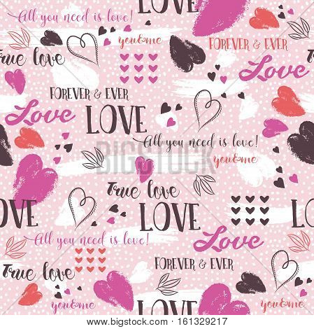 Pink background with red valentine heart and wishes text vector illustration Ideal for printing onto fabric and paper or scrap booking I used brushes from vector program.