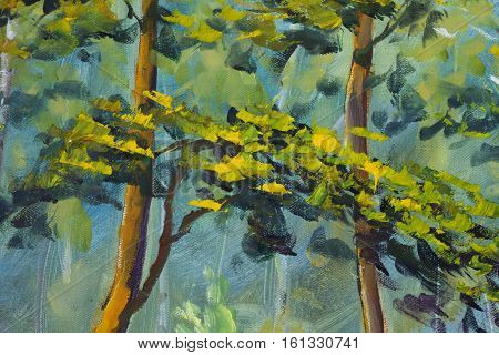 Close up fragment trees foliage of oil painting artistic image. Palette knife texture macro painting art
