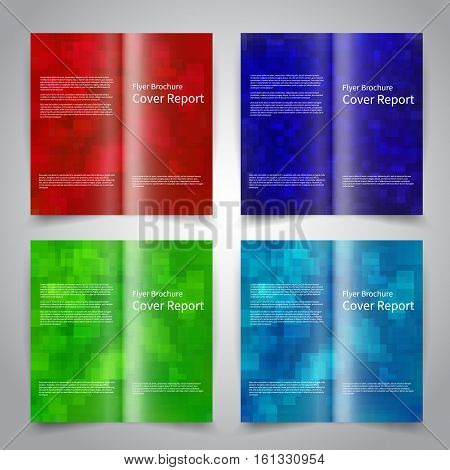 Brochure design templates set with abstract geometric background. Blue red green colors. Vector brochure mockup EPS10