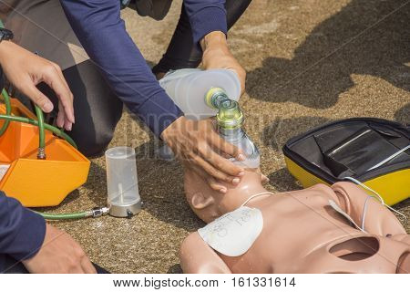 cpr training and man help ventilation by air mask bag unint