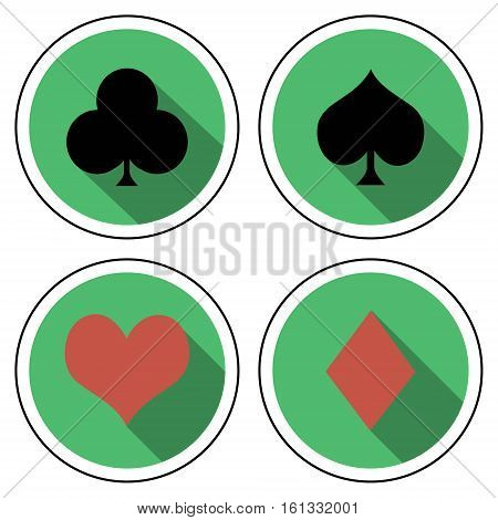 suit of playing cards flat style, marks cards for playing pokker on flat green background with shadow, vector suit