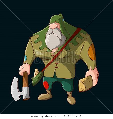 Colorful vector illustration of a Cartoon small folk viliger lumberjack with an axe holding wood and having a bag with lunch bread