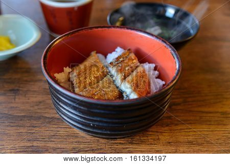 Japanese Eel Grill On Rice, Kabayaki On Rice In Bowl, Japanese Food.