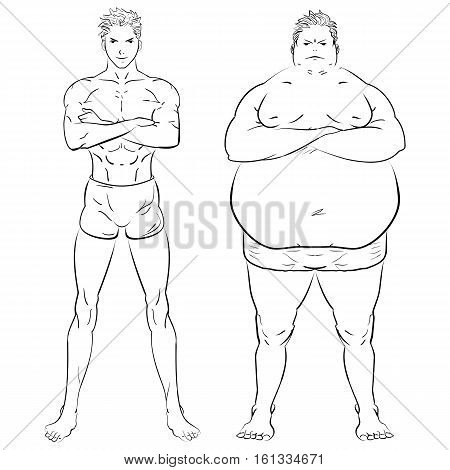 two different men, fat, skinny and muscular. Fitness studio training weight loss. Hand drawn doodle vector illustration.