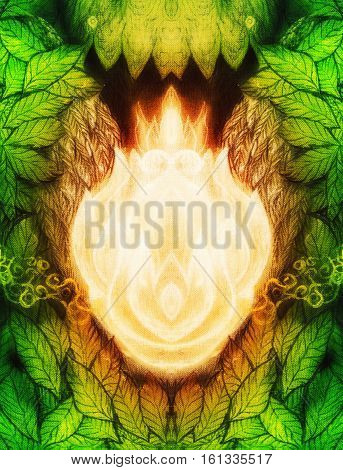 white flames - magical fire ornament on forest leaves, graphic illustration.