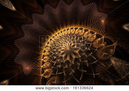Colorful golden abstract lotus with aura. Wonderful background