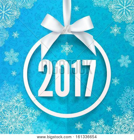 White paper vector round frame with silky bow and 2017 year number inside
