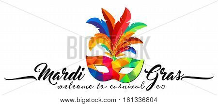 Triangular pattern carnival mask with colorful feathers and calligraphic sign Mardi Gras