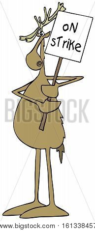 Illustration of a reindeer holding up a picket sign that reads on strike.