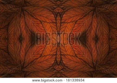 abstract background collage with autumn leaves and mirror effect.