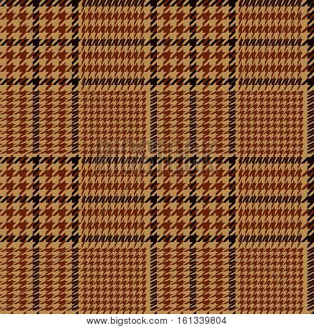 Houndstooth geometric plaid seamless pattern in brown and beige, vector background