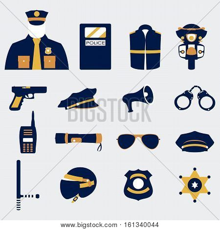 Vector color set collection icons of police equipment vector illustration