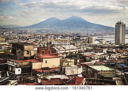 view of the city of Naples and its coastline, Italy