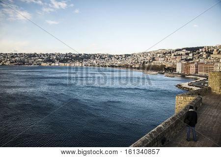 view of the bay of Naples and its coastline, Italy