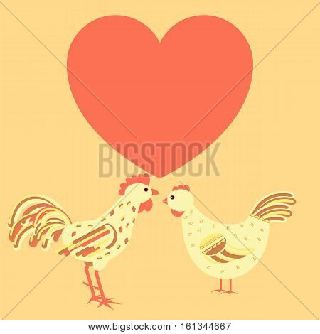 Chicken Family Around Heart Card