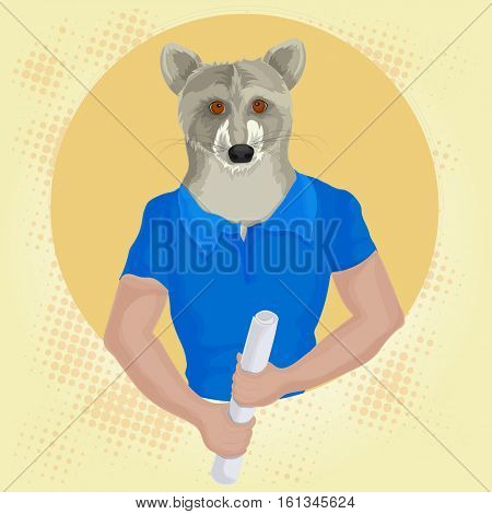 Half Human and Half Animal concept, Wolf in blue t-shirt, holding rolled paper, Animal headed human illustration, Creative Anthropomorphic design.