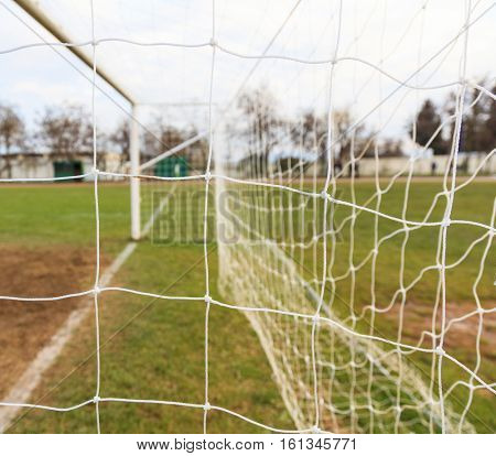 Football and soccer goal net close up