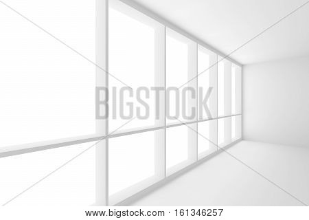 Business architecture white colorless office room interior - large window in white empty business office room with white floor white ceiling white walls and empty space 3d illustration