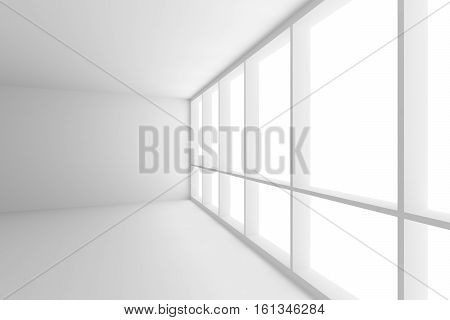 Business architecture white colorless office room interior - corner of empty white business office room with white floor white ceiling white walls and large window and empty space 3d illustration