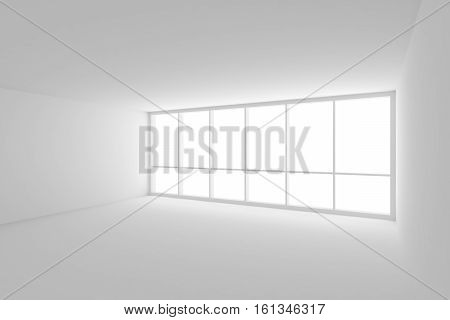 Business architecture white colorless office room interior - white empty business office room with white floor white ceiling white walls and large window and empty space 3d illustration