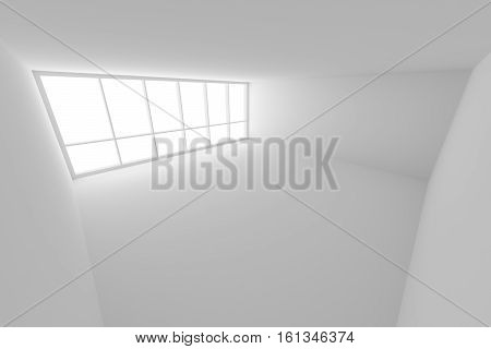 Business architecture white colorless office room interior - empty white business office room with white floor ceiling walls and large window and empty space 3d illustration wide view from ceiling