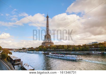 PARIS - NOVEMBER 2: Cityscape of Paris with the Eiffel tower on November 2 2016 in Paris France.