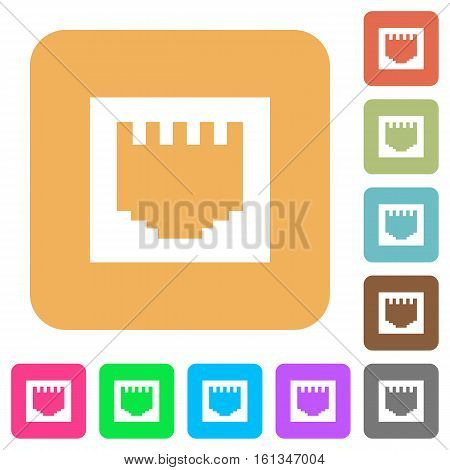 Ethernet connector icons on rounded square vivid color backgrounds.
