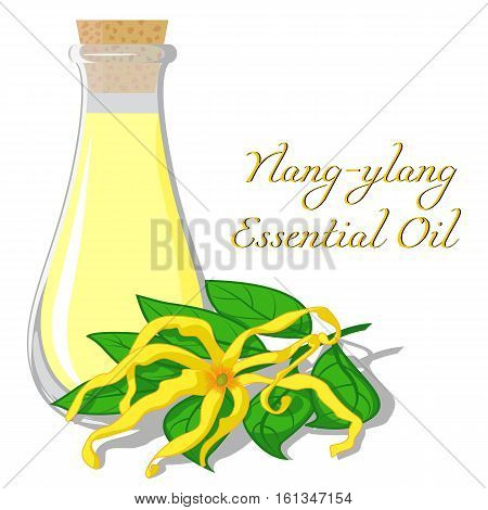 Small bottle with essential oil of ylang-ylang