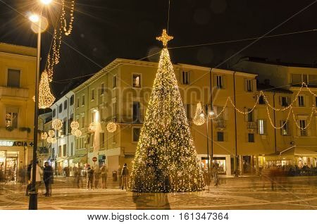 Christmas ornaments in the old town of Rimini