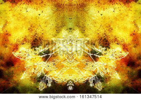 spiritual vibrant graphical ornament with symetrical composition and filigrane leaf detail.