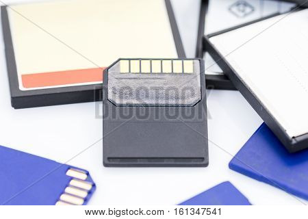 Compact Flash memory cards (CF card) on white background poster